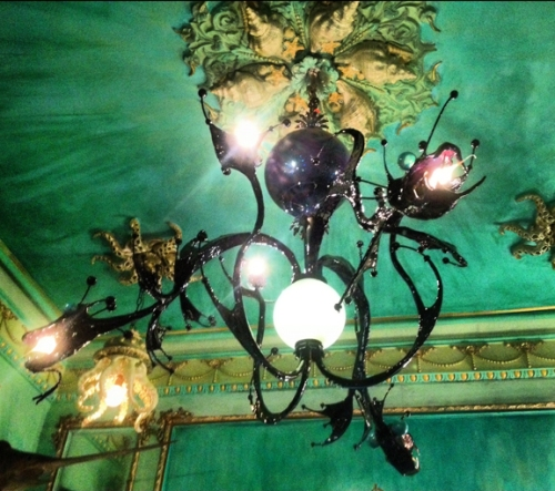 wonderfully scary light fixture Adam made. Something like barracuda meets Medusa meets ceiling fan. But NOT a ceiling fan at all.