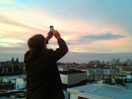 Adam capturing the great sunset as if his life depended on it.