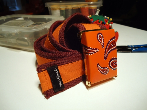 Orange is the color of life!!! My hand painted orange and rose paisley... buckle and belt